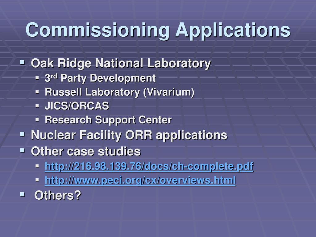 Commissioning Applications