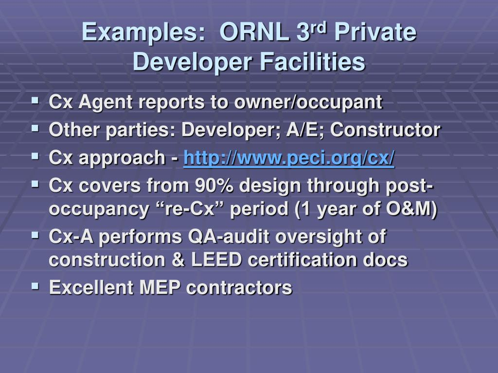Examples:  ORNL 3