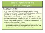 sexual identity and the loss of civil rights