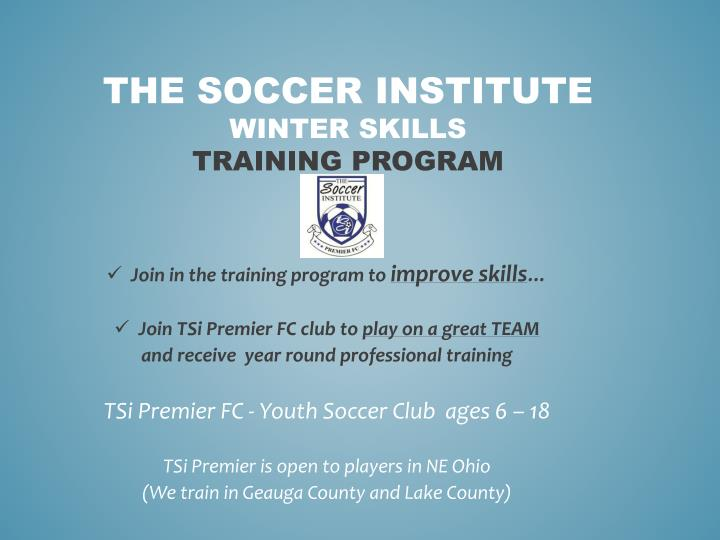 the soccer institute winter skills training program n.