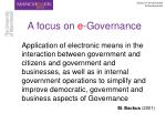 a focus on e governance