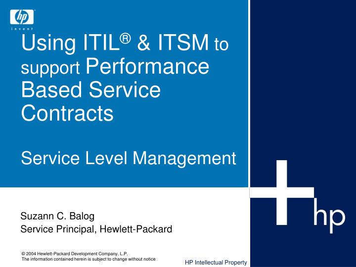 using itil itsm to support performance based service contracts service level management n.