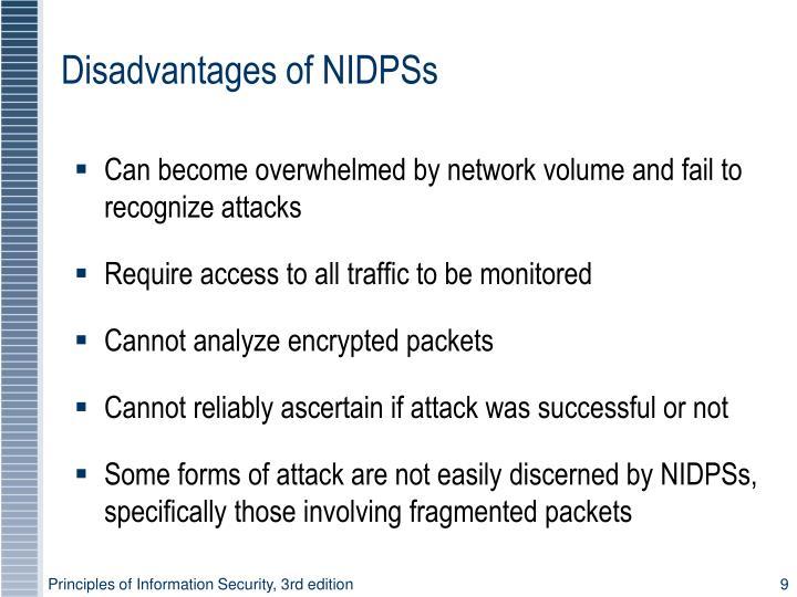 Disadvantages of NIDPSs