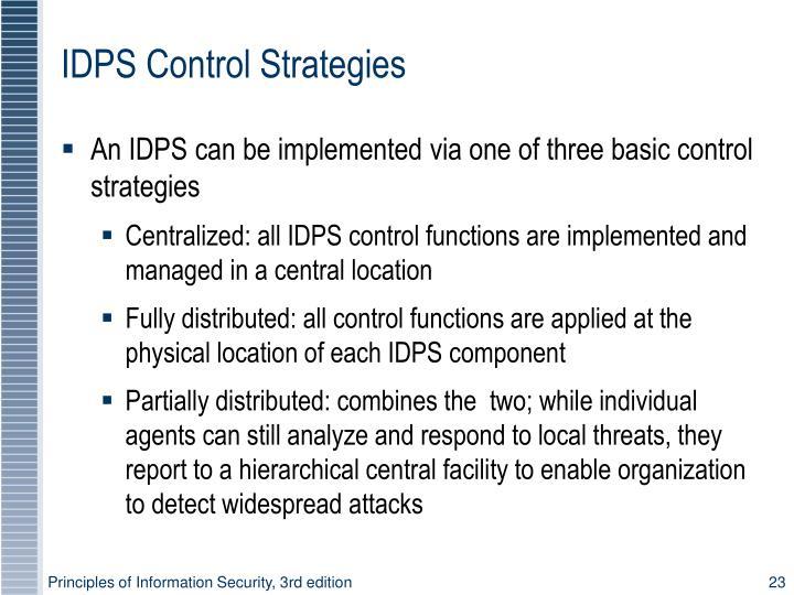 IDPS Control Strategies