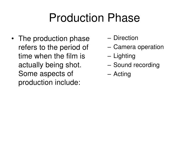 production phase n.