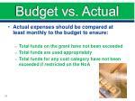 budget vs actual