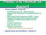 read the notice of award