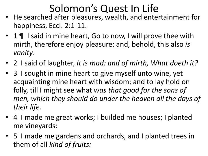 Solomon's Quest In Life