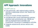 apf approach innovations