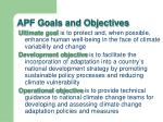 apf goals and objectives
