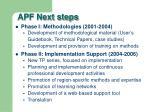apf next steps