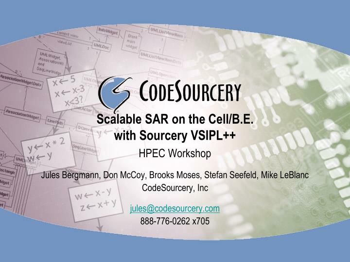 scalable sar on the cell b e with sourcery vsipl n.