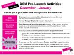 dsm pre launch activities december january