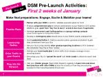 dsm pre launch activities first 2 weeks of january