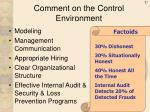 comment on the control environment