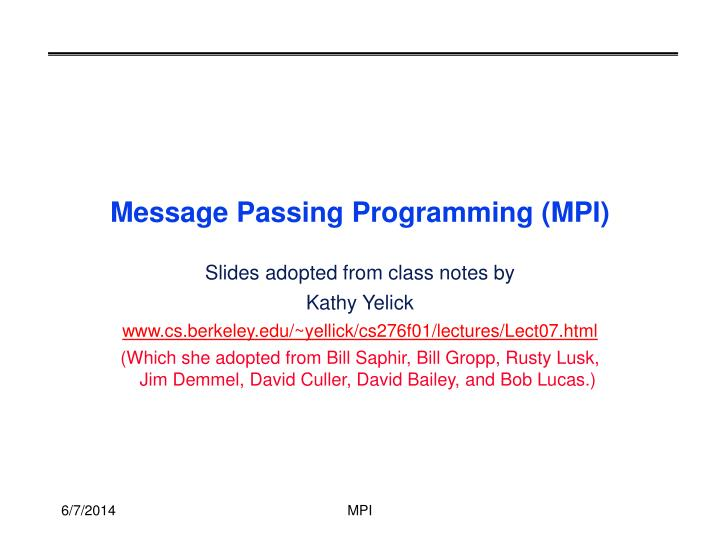 message passing programming mpi n.