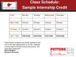 class schedule sample internship credit