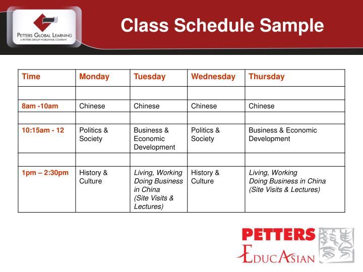 Class Schedule Sample