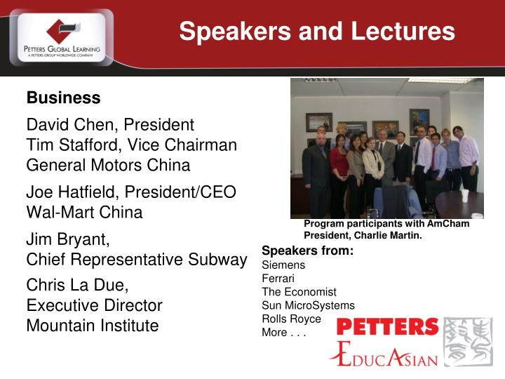 Speakers and Lectures