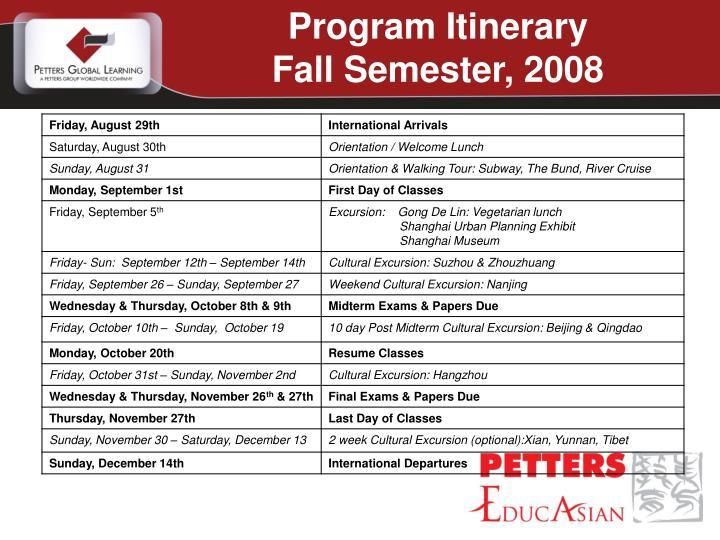 Program Itinerary
