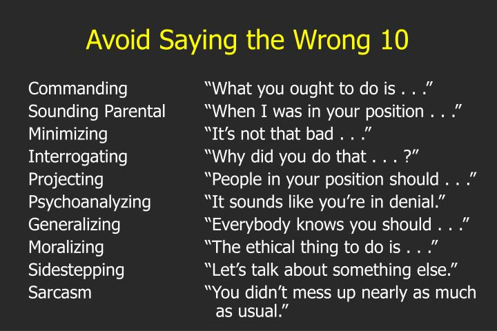 Avoid Saying the Wrong 10