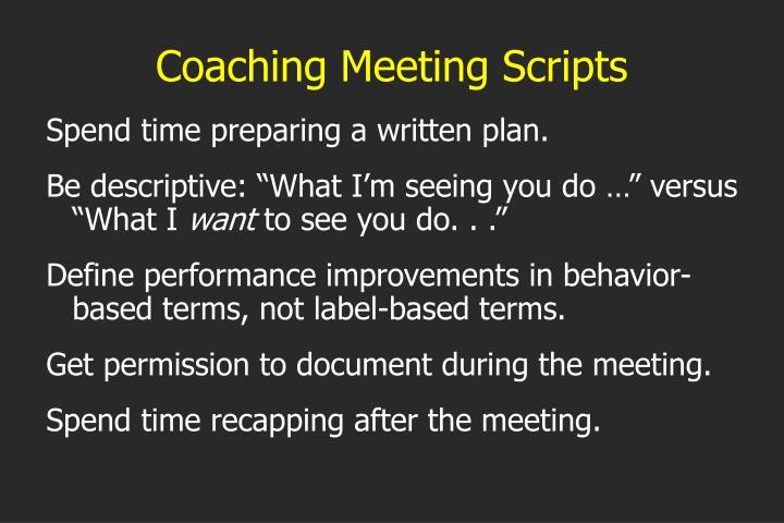 Coaching Meeting Scripts