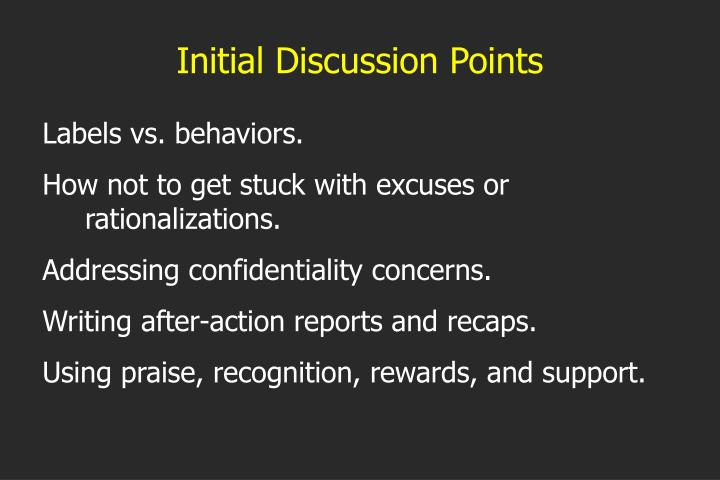 Initial Discussion Points