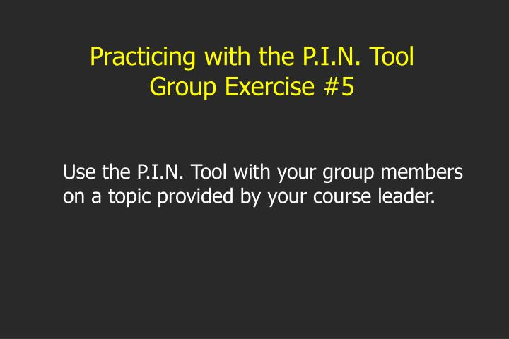 Practicing with the P.I.N. Tool