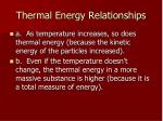 thermal energy relationships