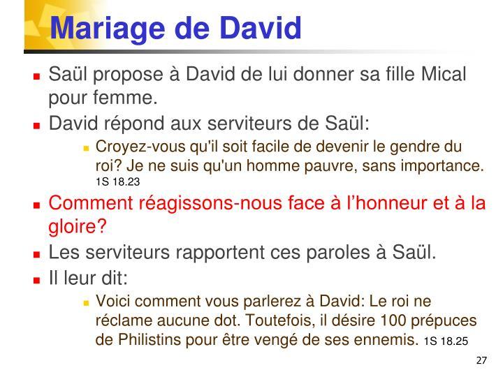 Mariage de David