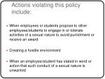 actions violating this policy include