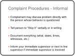 complaint procedures informal