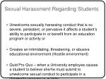 sexual harassment regarding students