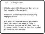 wcu s response
