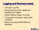 logging and recovery cont1