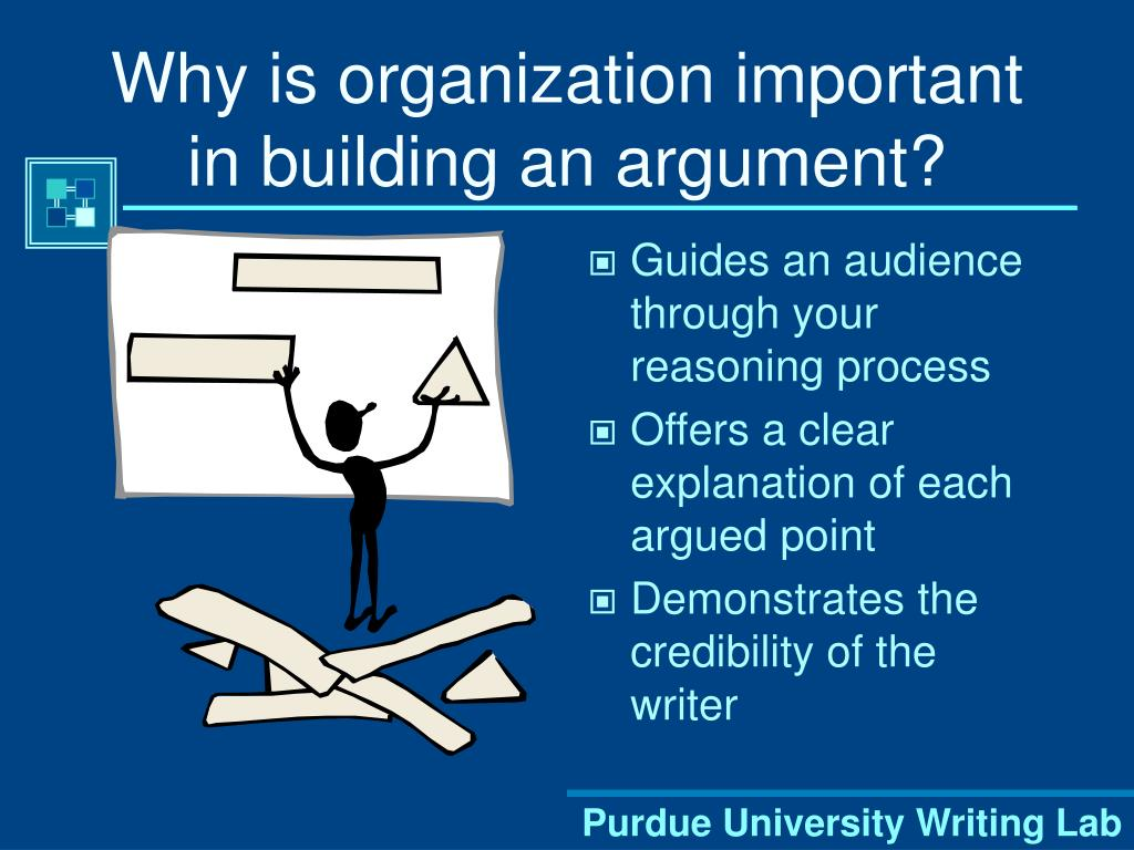 Why is organization important in building an argument?
