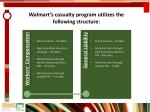 walmart s casualty program utilizes the following structure