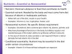 nutrients essential vs nonessential