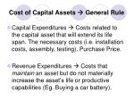 cost of capital assets general rule