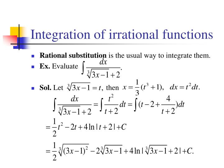 integration of irrational functions n.