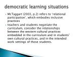 democratic learning situations