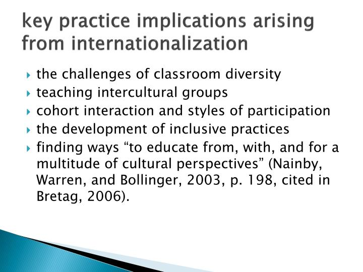 key practice implications arising from internationalization