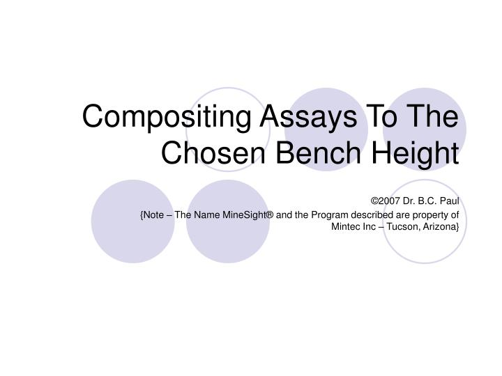 compositing assays to the chosen bench height n.