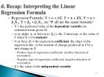 d recap interpreting the linear regression formula