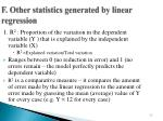 f other statistics generated by linear regression