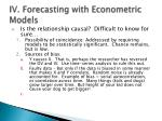 iv forecasting with econometric models