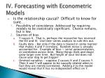 iv forecasting with econometric models1