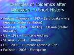 examples of epidemics after disasters a short history10