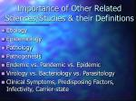 importance of other related sciences studies their definitions