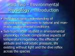 part two environmental physiology introduction